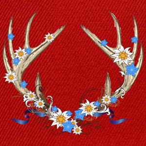 Deer antlers with gentian and edelweiss Shirts - Snapback Cap