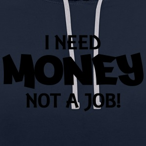 I need money, not a job! Topy - Bluza z kapturem z kontrastowymi elementami