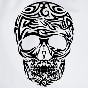 Tribal Tattoo Skull (Black) Men's T-Shirt - Drawstring Bag