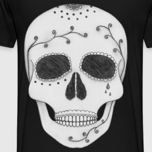 Day of the Dead Sugar Skull Back Print Hoodie - Men's Premium T-Shirt