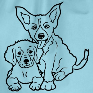 2 dogs brothers siblings grey friends sitting T-Shirts - Drawstring Bag