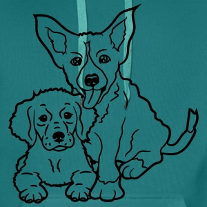 2 dogs brothers siblings grey friends sitting T-Shirts - Men's Premium Hoodie
