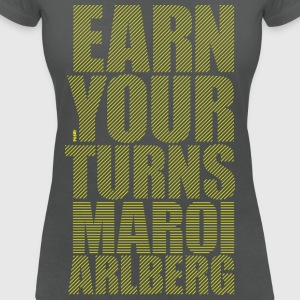 Earn your turns - yellow Tops - Women's V-Neck T-Shirt