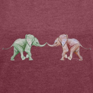 Two elephants - trunk to trunk (green,red) Accessories - Women's T-shirt with rolled up sleeves
