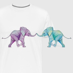 Two elephants - trunk to trunk (purple,turquoise) Other - Men's Premium T-Shirt
