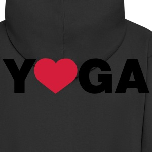 I love Yoga heart T-Shirts - Men's Premium Hooded Jacket