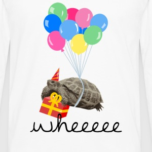 Hvid turtle with gift and balloon T-shirts - Herre premium T-shirt med lange ærmer