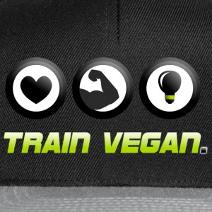 Train Vegan. Heart - Biceps - Brains T-Shirts - Snapback Cap
