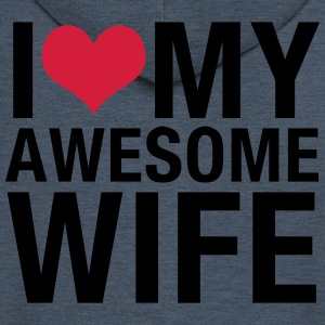 I Love My Awesome Wife T-Shirts - Men's Premium Hooded Jacket