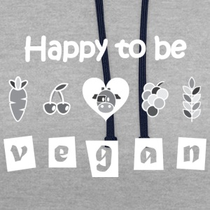 Happy to be Vegan T-shirt - Contrast Colour Hoodie