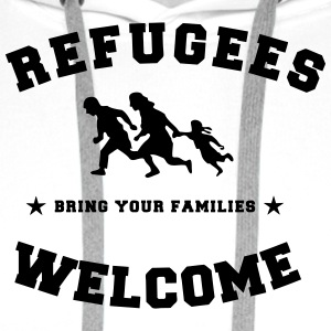 refugees welcome Tee shirts - Sweat-shirt à capuche Premium pour hommes