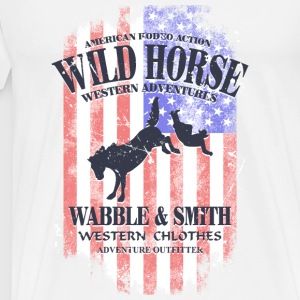 Wild Horse Rodeo - USA Vintage Flag Long sleeve shirts - Men's Premium T-Shirt