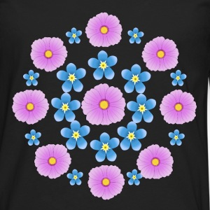 Flowers pink and blue Camisetas - Camiseta de manga larga premium hombre