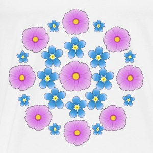 Flowers pink and blue Tops - Mannen Premium T-shirt