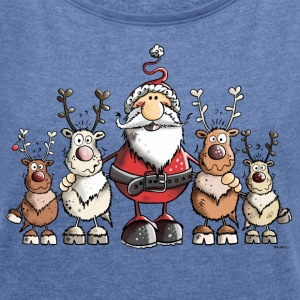 Santa Claus with reindeer Hoodies & Sweatshirts - Women's T-shirt with rolled up sleeves