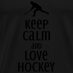 keep calm and love hockey Toppe - Herre premium T-shirt