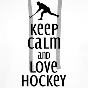 keep calm and love hockey Toppe - Herre Premium hættetrøje