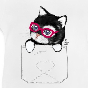 Sweet Kitty with hipster glasses in pocket Shirts - Baby T-Shirt