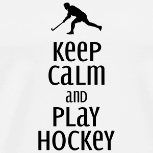 keep calm and play hockey Mobil- & tablet-covers - Herre premium T-shirt