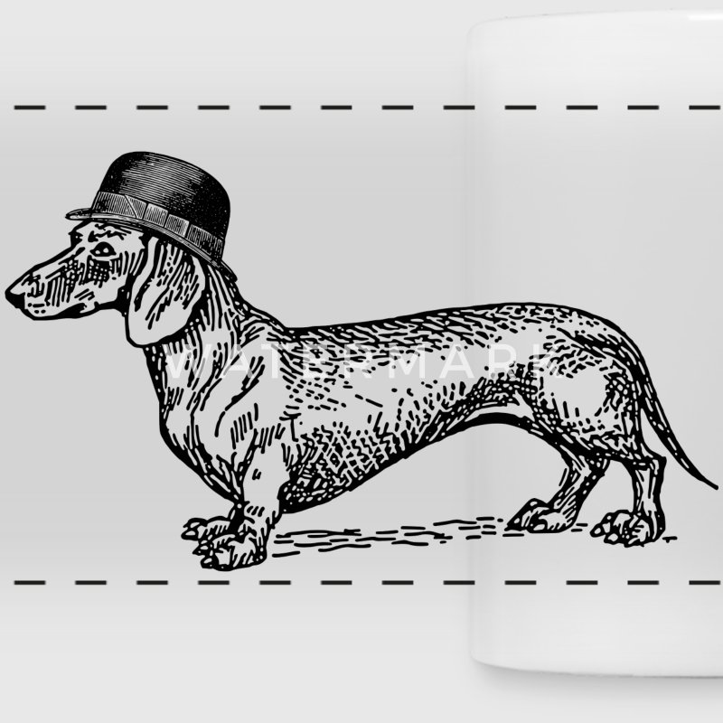 White Dog with hat Mugs & Drinkware - Panoramic Mug