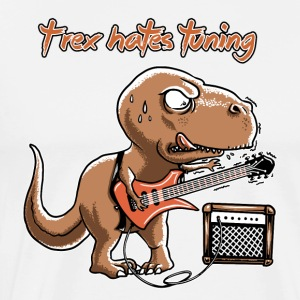 Blanc spreadmusic2015 T-Rex Hates Tuning - guitar rock Tabliers - T-shirt Premium Homme