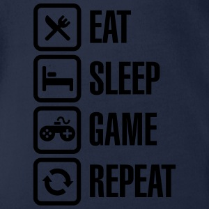 Eat sleep game repeat Shirts - Baby bio-rompertje met korte mouwen