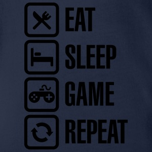 Eat sleep game repeat T-Shirts - Baby Bio-Kurzarm-Body