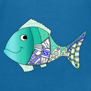 Blue fish bib - Women's V-Neck T-Shirt