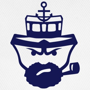 Person sailor pipe beard anchor boat Shirts - Baseball Cap