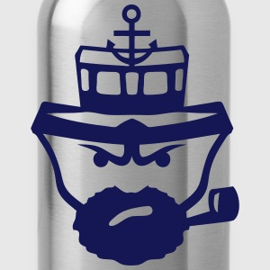 Person sailor pipe beard anchor boat Shirts - Water Bottle