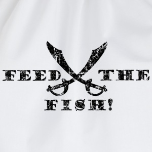 Feed the Fish - Pirate Quote Vintage Black T-Shirts - Drawstring Bag