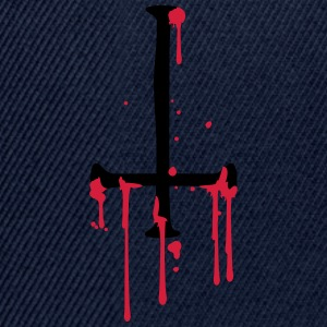 blood drop cross inverted Satanic Satanist T-Shirts - Snapback Cap