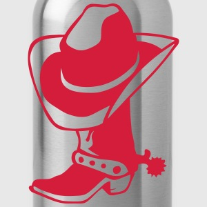 Cowboy boot hat logo 4 Long sleeve shirts - Water Bottle