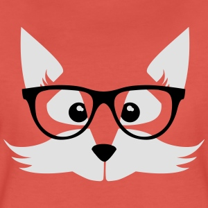 Coral nerd fox with glasses Tops - Women's Premium T-Shirt