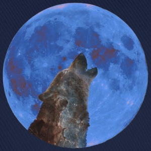 Galaxy Wolf and blue moon - Cappello con visiera