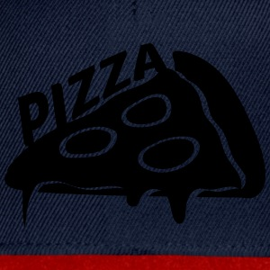 Text pizza dripping cheese salami slices piece T-Shirts - Snapback Cap