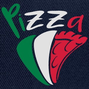 flag Italy eating pizza salami tasty colored text T-Shirts - Snapback Cap