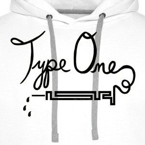 Type One Diabetes - Needle Design - Black T-Shirts - Men's Premium Hoodie