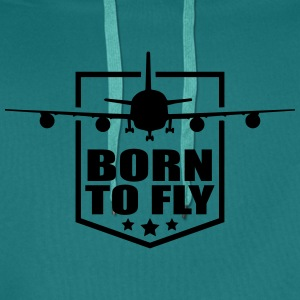Design born to fly logo wing aircraft pilot crest T-Shirts - Men's Premium Hoodie
