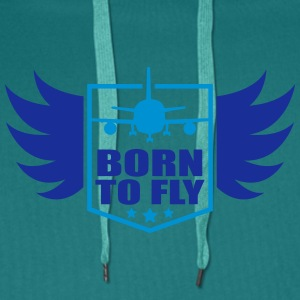born to fly logo wing aircraft pilot crest T-Shirts - Men's Premium Hoodie