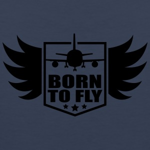born to fly logo wing aircraft pilot crest T-Shirts - Men's Premium Tank Top