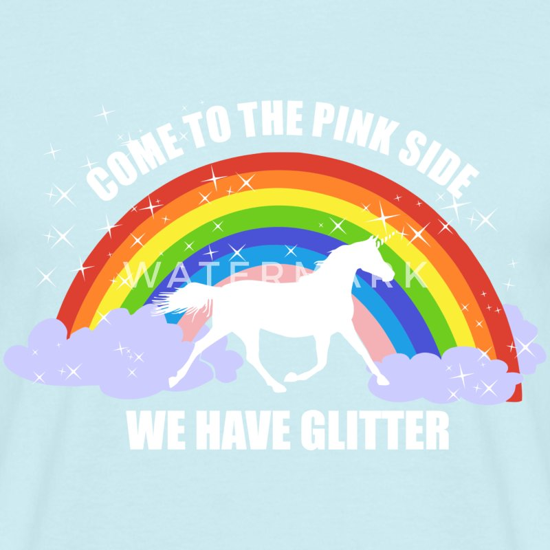 Einhorn *Come to the pink side - we have glitter* T-shirts - Mannen T-shirt