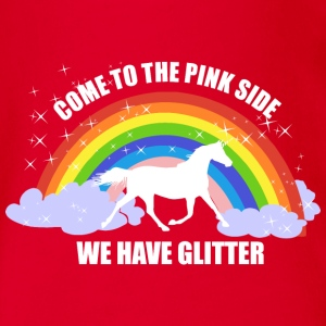 Einhorn *Come to the pink side - we have glitter* Shirts - Baby bio-rompertje met korte mouwen
