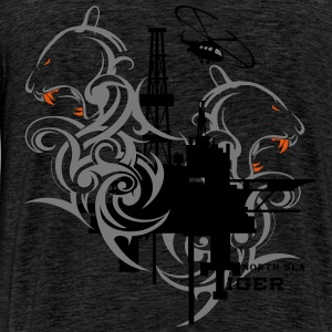 Oil Rig Oil field North Sea Tiger Aberdeen  Hoodies & Sweatshirts - Men's Premium T-Shirt