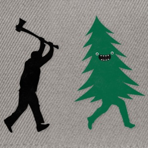 Funny Christmas Tree Hunted by lumberjack Humor Tee shirts - Casquette snapback