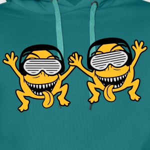 party friends Team duo monster dj music party head T-Shirts - Men's Premium Hoodie