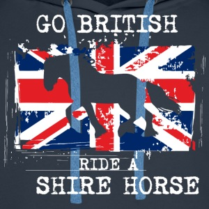 Go British - ride a Shire Horse T-Shirts - Men's Premium Hoodie