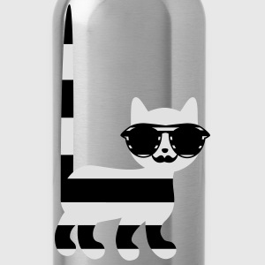 striped cat with mustache Tops - Water Bottle