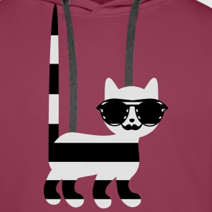 striped cat with mustache Shirts - Men's Premium Hoodie