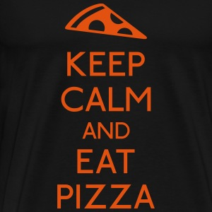 Keep Calm Pizza holde roen pizza Sweatshirts - Herre premium T-shirt